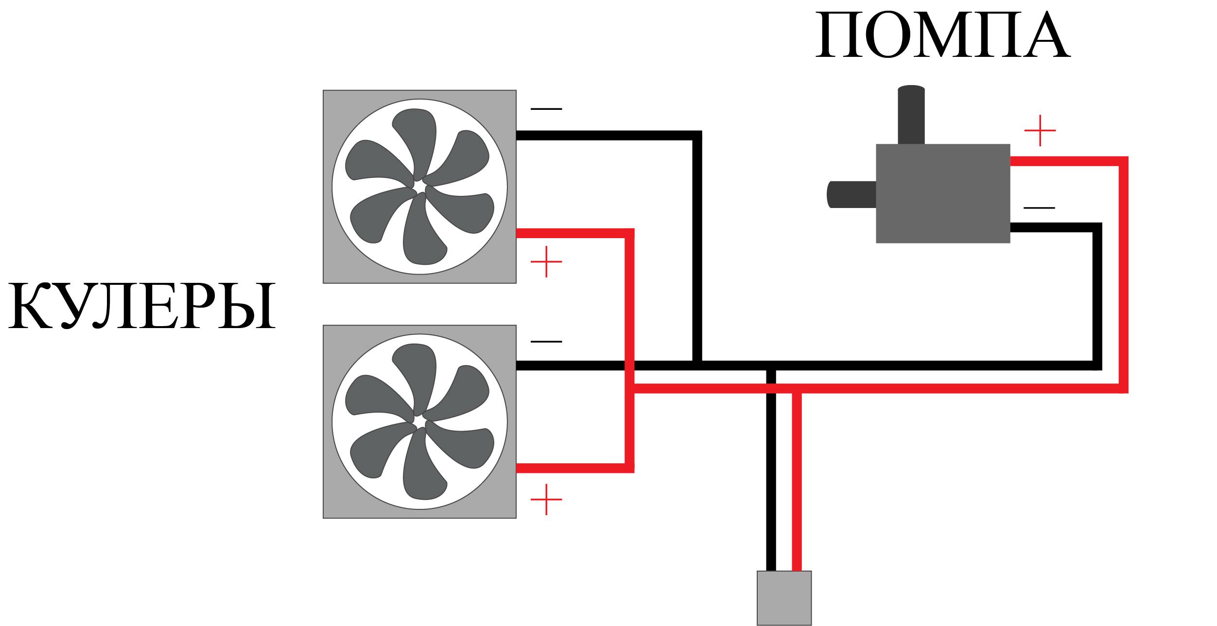 схема электроники для системы водяного охлаждения ПК
