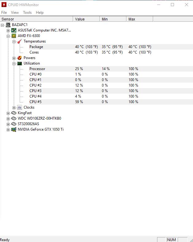 скриншот из программы CPUID HWMonitor