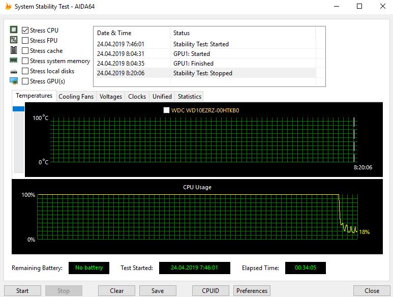 скриншот из программы System Stability Test - AIDA64